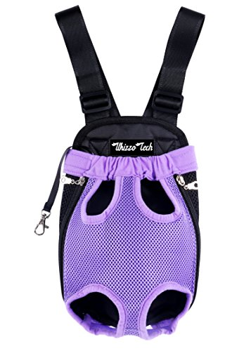 Whizzotech Pet Carrier Backpack, Adjustable Pet Front Cat Dog Carrier Backpack Travel Bag, Legs Out, Easy-Fit for Traveling Hiking Camping PB03 (S, Purple) Pack Pet Carrier