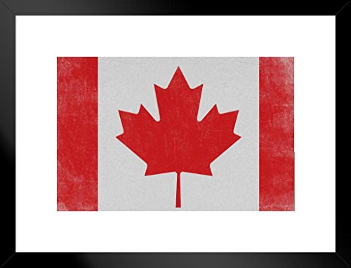 Poster Foundry Flags Canadian Maple Leaf National Flag of Canada Textured Vintage Matted Framed Wall Art Print 20x26 inch