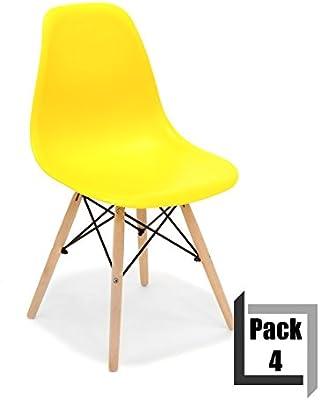 CITY HOME Pack von 4 Stühle Tower Wood PP Replica Eames, Qualität ...