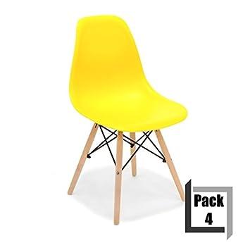 CITY HOME Pack de 4 sillas Tower Wood réplica Eames ...