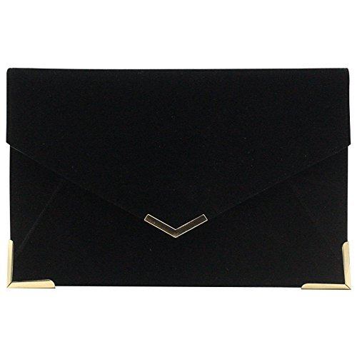 Fuchsia Suede Party Velvet Bag Clutch Wedding Prom Envelope Bag Cckuu Shoulder Black Womens qxfFaSP