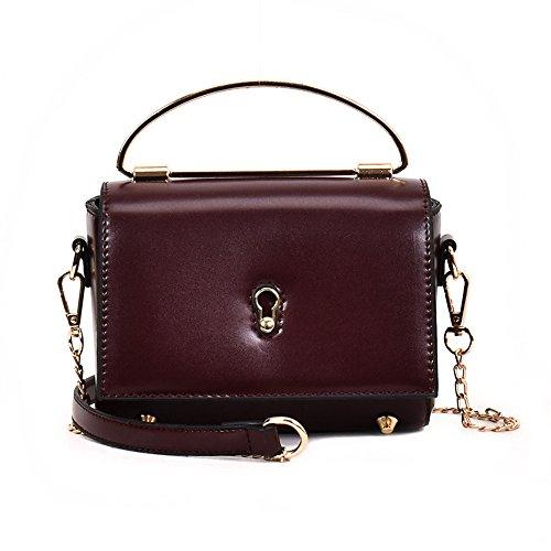 Meaeo La Sra. Fang Sólido Mochila Y Bolsa Pequeña Bolsa Bolso De Moda Minimalista, Negro Purple red