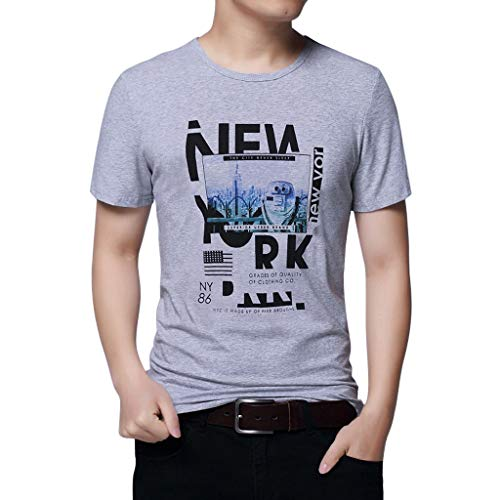 T Hauts Crewneck Tops Imprimé Mode Motif Modal gris Manches Tees Courtes Ete 2 Col À Rond Shirt Chemise shirt Homme Bazhahei Personnalités Casual TOrwqaTn