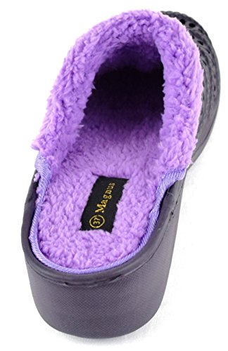 ACO Damen Clogs Warm Gefüttert, Hausschuhe Pantoletten Pantoffeln Gr. 36-41 Blau,Schwarz,Pink Schwarz