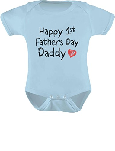 TeeStars Unisex- Happy First Father'S Day Baby Bodysuit 6M Light Blue