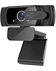 Webcam with Microphone, 1080P HD Streaming Webcam, Web Camera with Privacy Cover, Plug & Play, Noise Reduction, Web Cam USB Camera for Zoom, Online Classes, Video Calling, Conferencing