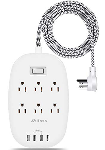 Power Strip with 6 Outlets 4 USB Ports (5V/4.5A), 5ft Braided Heavy Duty Extension Cord, Flat Plug Switched Multi Outlet…