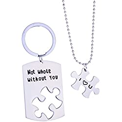 Not Whole Without You Matching Puzzle Keychain Necklace Set, Christmas Gift for Husband Wife