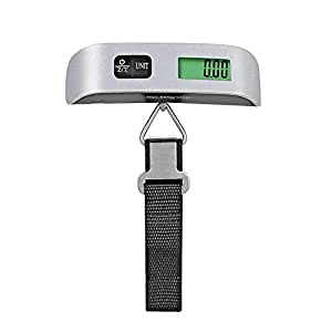 YX Digital Hanging Luggage Scale, Portable Handheld Baggage Scale for Travel, Suitcase Scale with Rubber Paint, Temperature Sensor, 110 Pounds, Silver, Battery Included
