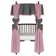 BabyDoll Reversible Round Crib Curtain Set, Grey/Pink