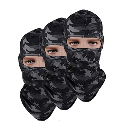 Pack of 3 Breathable Stretch Hat Outdoor Fishing hunting Camouflage Airsoft Thin Ski Balaclava Motorcycle Mask from GANWAY