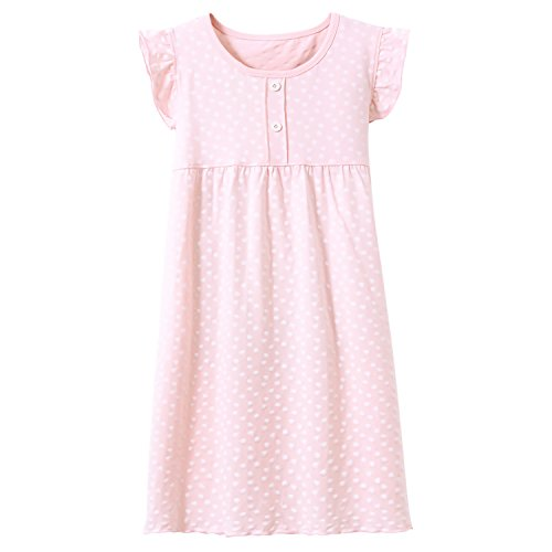 Big Girls' Princess Nightgowns Heart Print Sleep Shirts Short Sleeve Pajamas Pink -