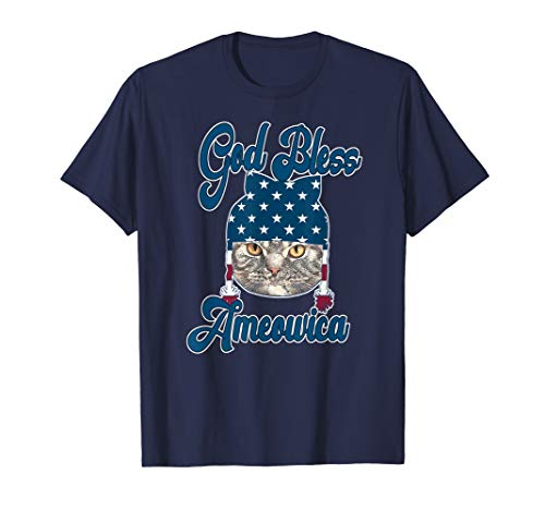 God Bless America Cat Lovers Patriotic Shirt Gift T-Shirt