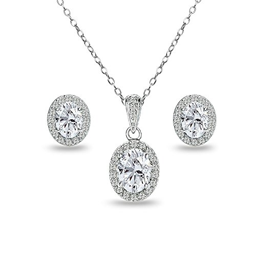 Sterling Silver Created White Sapphire Oval Halo Necklace and Stud Earrings - Necklace Earring Set Oval And