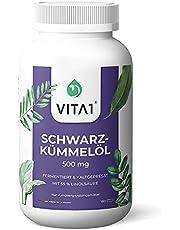 Vita1 Egyptische zwarte komijnolie 500 mg • 180 capsules (6 maandverpakking) • glutenvrij, koscher & halal • Made in Germany