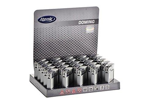 25 x Atomic Elektronik Feuerzeug SQ-DomingSoftflame Nachfüllbar Silber