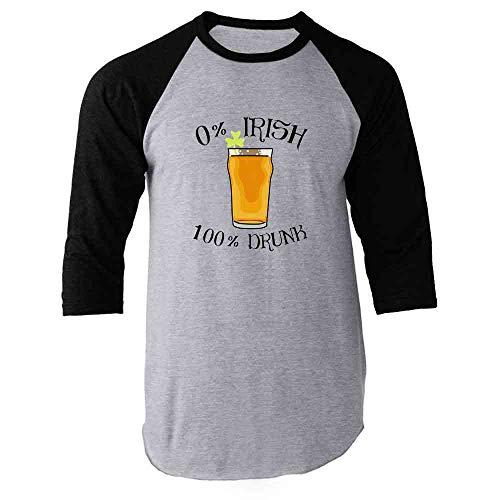 Pop Threads 0 Percent Irish 100 Percent Drunk St Patrick's Day Black L Raglan Baseball Tee Shirt