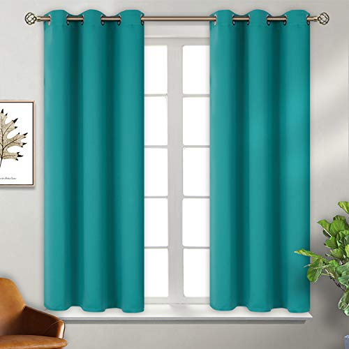 BGment Blackout Curtains for Bedroom - Grommet Thermal Insulated Room Darkening Curtains for Living Room, Set of 2 Panels (38 x 54 Inch, Teal) (Lined Curtains Teal)