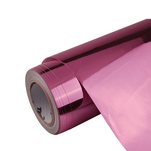 Adhesive Chrome Mirror Vinyl Wrap Air Release Sticker Decal Film Sheet 1x5ft( Light Pink)