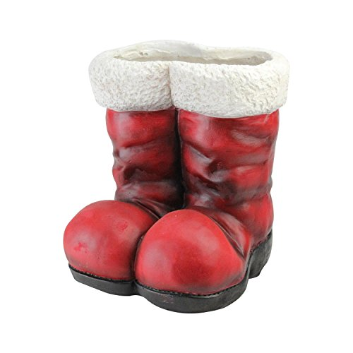 "12.25"" Decorative Ruby Red Vintage Santa Claus Christmas Boot Planter - Santa Boots"