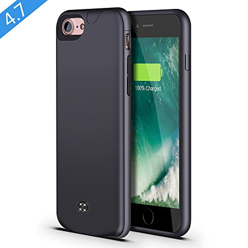 Price comparison product image iPhone 8/7 Battery Case,Support Lightning Headphone,Lsmila 2700mAh Ultra Slim Extended Charging Case for iPhone 7/8(4.7') Battery Charger Case Battery Pack w/Lightning Port,Double Battery-gray
