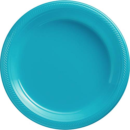 Caribbean Blue Plastic Luncheon Plates Big Party Pack, 50 Ct.