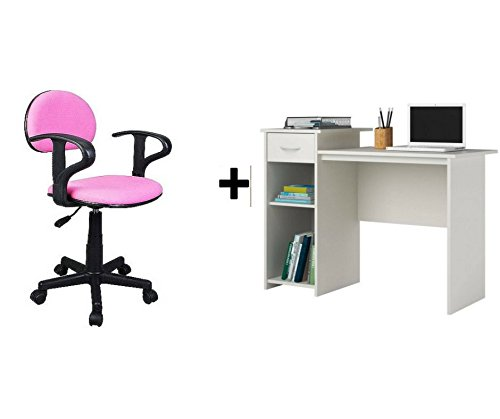 Mainstays Student Desk, White and Task Chair with Arms