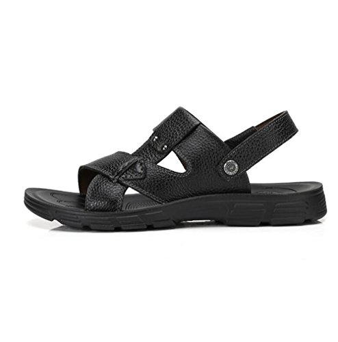 Slip On Camel Black Sandals slip Casual Flop Wear Flip Beach Mens Summer Leather Cow Non 84BBqAC0x