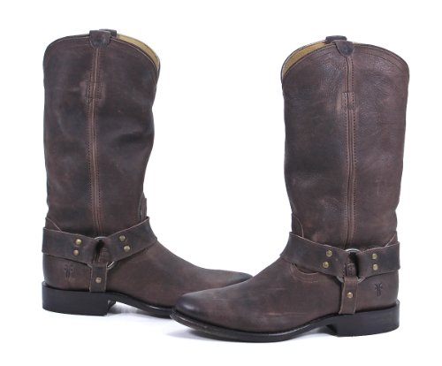 FRYE Women's Wyatt Harness Boot, Dark Brown Distressed Nubuck, 7 M (Frye Wyatt Boot)