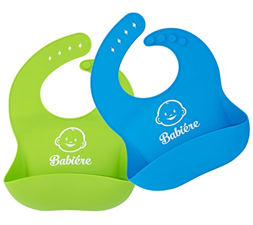 Babiere Silicone Bib with Snaps and Crumb Catcher, Blue and Green, 2 Pack
