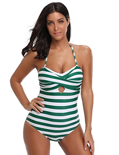 GRACE KARIN Womens Halter Neck One Piece Padded Swimsuit Monokini Swimwear Green Stripe M (Green Halter Swimsuit)
