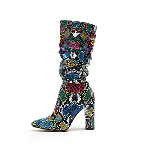 wetkiss Colorful Snakeskin Boots Mid-Calf Boots Thick High Heels Pointed Toe Zipper Slouch Boots Snake