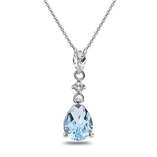 Sterling Silver Blue Topaz & White Topaz Teardrop Dangling Drop Pendant Necklace