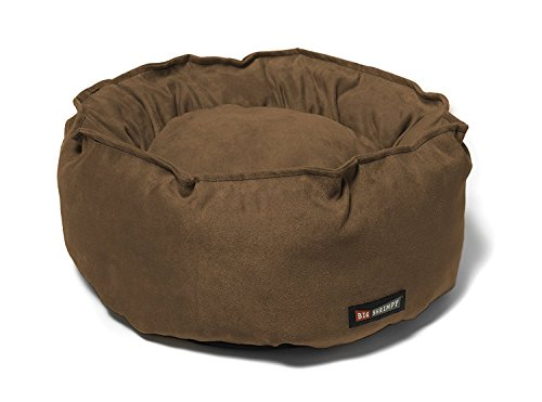 Big Shrimpy Catalina Faux Suede Pet Bed for Cats & Dogs Small, Walnut