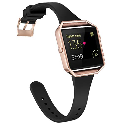 Amcute Compatibe for Fitbit Blaze Band Slim Narrow Thin Silicone Replacement Wristband with Metal Frame for Fitbit Blaze Bands Women Men Small Large (Black&Rose Gold, Small)