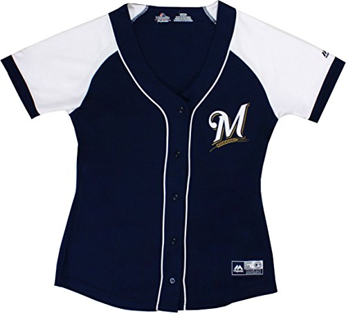 Majestic Milwaukee Brewers Women's Fashion Replica Jersey, (Milwaukee Brewers Womens Replica Jersey)