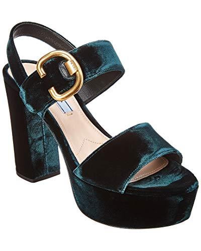 - Prada 105 Velvet Platform Sandal, 38.5, Green