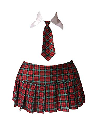 Elegant Moments Plus Size School Girl Mini Skirt Costume Red Plaid Tartan w/Collar & Tie Cosplay (Plus Size/Queen Size)