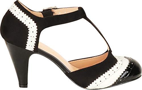 b255b343cc Cambridge Select Women's T-Strap Wingtip Style Cut Out Mid Heel Dress Pump