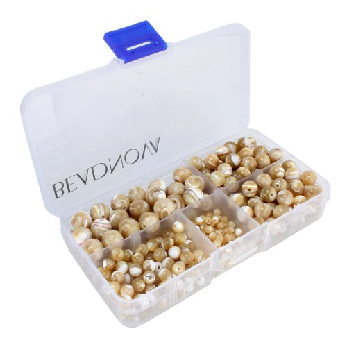 BEADNOVA Natural Mother Of Pearl Nacre Conch Shell Gemstone Round Loose Beads with Bead Organizer Carry Case for Jewelry Making (340pcs/box, (Natural Mother Of Pearl Necklace)
