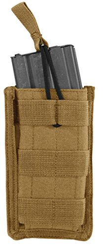 Open Top Single (VooDoo Tactical 20-8584007000 M4/M16 Open Top Mag Pouch With Bungee System, Coyote, SINGLE)