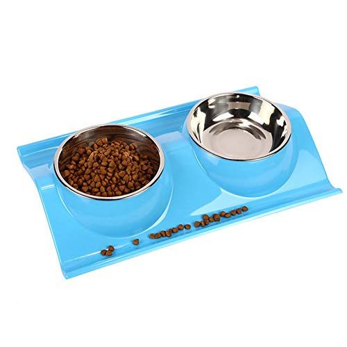 TEESUN Double Dog Bowls Stainless Steel Raised Cat Puppy Food and Water Bowl Dishes for Small Animals Anti-Slip Blue…