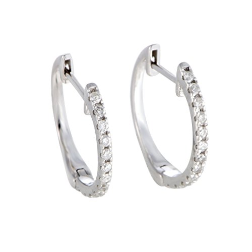 Sparkling 0.5'' Diamond Hoop Earrings in 10K White Gold; 0.20 Carats of Brilliant Diamonds (white-gold) by Luxury Bazaar