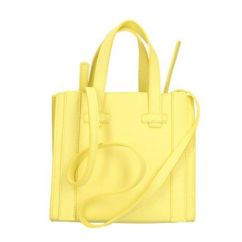 Chicca Borse Bolso en Piel genuina 23x20x13 Cm amarillo