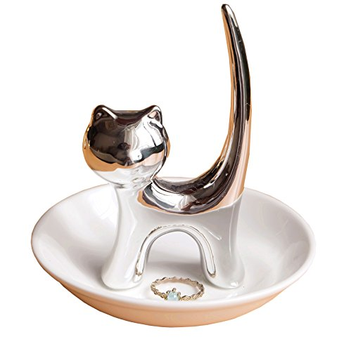 Eastyle Silver Long Tail Cat Ring Dish Holder Jewelry Trays For Earrings Necklace Bracelet Organizer Display