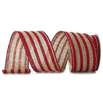 Red Striped Printed Burlap Ribbon - 5 Yards -