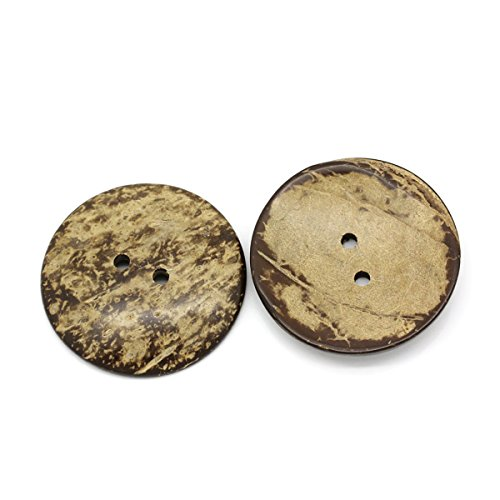 HOUSWEETY 10PCs Coconut Shell Buttons Sewing Scrapbooking Brown Round 2 Holes 5cm (Handmade Coconut Button)