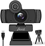 Aoozi Webcam with Microphone, Webcam 1080P USB Computer Web Camera with Facial-Enhancement Technology, Widescr
