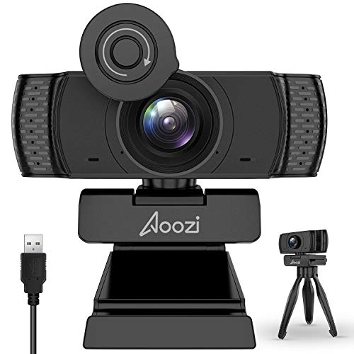 Aoozi Webcam with Microphone, Webcam 1080P USB Computer Web Camera with Facial-Enhancement Technology, Widescreen Video…