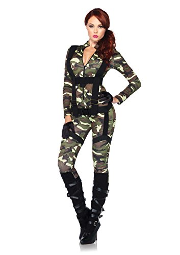 Leg Avenue Women's 2 Piece Pretty Paratrooper Costume, Camo, Large (Army Ladies Costume)